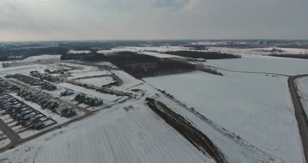 harikalar diyarı : Flying Towards Newly Constructed Subdivision In Winter Near Forest Aerial
