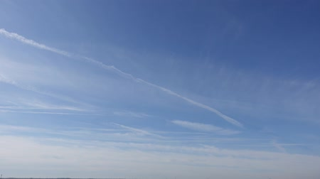 altostratus : Several Jet Streaks In Cloudy Sky With Horizon On Bottom Timelapse