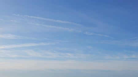 altostratus : Wispy Clouds With Small Jet Contrails Streaking Across Sky Stock Footage