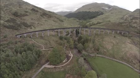 highland : Aerial shot over Glenfinnan Viaduct in the Scottish Highlands