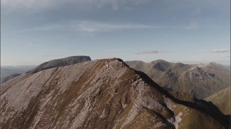 coe : Spectacular aerial shot on Sgurr aMhaim mountain revealing Ben Nevis in the Scottish highlands during sunset