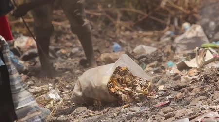 güney : Homeless African man looking through rubbish tip Stok Video