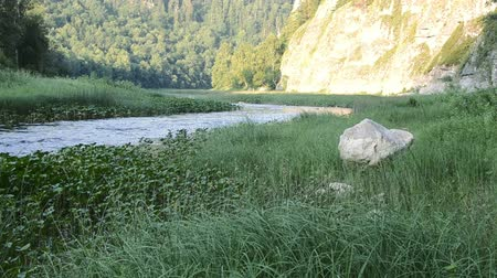Gentle flowing River Nagush in Bashkortostan Russia flowing through vegetation mountainsides and a forest with sound Stock Footage