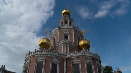 red square : Church of the Intercession of the virgin in Fily, Moscow, Russia. (timelapse)