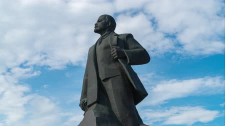 marco nacional : 11 June 2018. Russia. The City Of Domodedovo. Day. Lenin monument in the Central city square