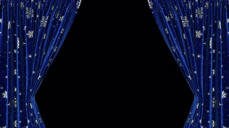 Dark blue curtains with snowflakes move apart in different directions. With alpha channel Vídeos
