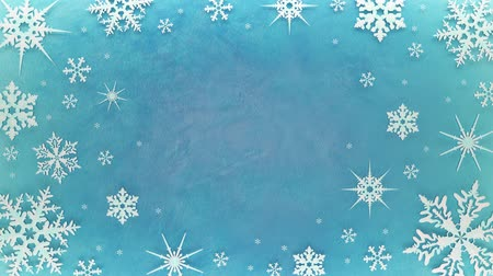 Snowflakes rotate on the ice surface. Looped animation