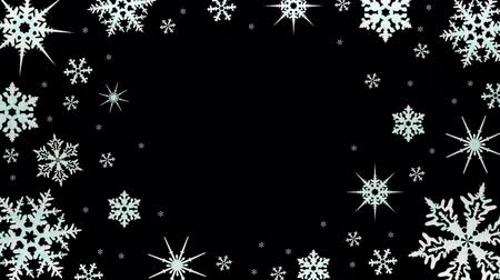 descoberta : Snowflakes rotate on a transparent background. Video with alpha channel. Video with alpha channel. Looped animation Stock Footage