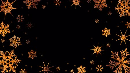 Burning snowflakes rotate on a transparent background. Video with alpha channel. Looped animation Vídeos