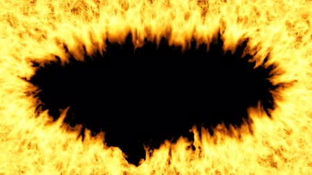 Oval frame of the fire on a transparent background. Fire animation is made with alpha channel. Looped video.