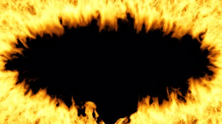 Oval fiery frame on a transparent background moves away from the viewer. Fire animation is made with alpha channel.