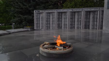 11 June 2018. Russia. The City Of Domodedovo. Day. Obelisk of Glory to soldiers-Domodedovo, who died during the Second world war. Eternal flame.