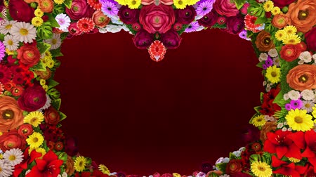 Animation of swirling flowers forming the silhouette of a heart on a red festive background. Template for greetings for wedding, Valentines Day, mothers day, family day, birthday. Vídeos