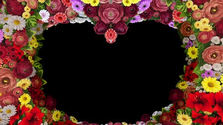 luto : Animation of swirling flowers forming a heart silhouette on a black background. Template for greetings for wedding, Valentines Day, mothers Day, family Day, birthday.