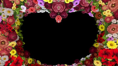 luto : Animation of swirling flowers forming a heart silhouette on a black background. Template for greetings for wedding, Valentines Day, mothers Day, family Day, birthday. Loop video.