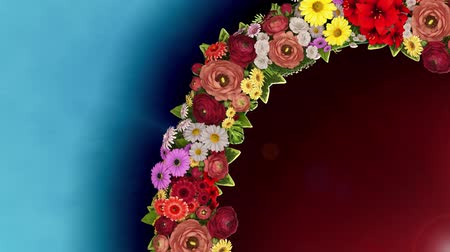 Animation of a swirling ring of flowers on a light blue and red background. Loop video Vídeos