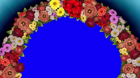 Animation of a rotating ring of flowers on a blue background. The chroma key. Loop video