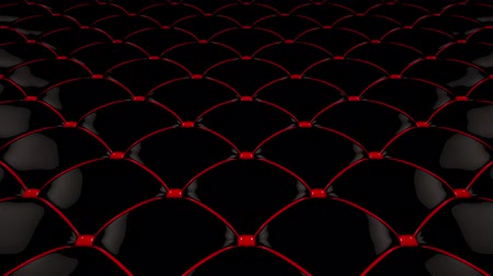 3D animation of the flight over a black quilted vinyl surface with bright red ties. Looped video. Filmati Stock