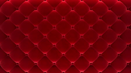 yorgan : 3D motion animation along the red quilted velvet wall. Looped video. Stok Video