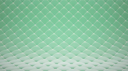 3D motion animation of light green quilted velvet surface with white leather straps. Realistic animation of high quality. Looped video.