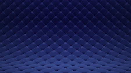 3D motion animation of blue quilted velvet surface with blue leather straps. Realistic animation of high quality. Looped video.