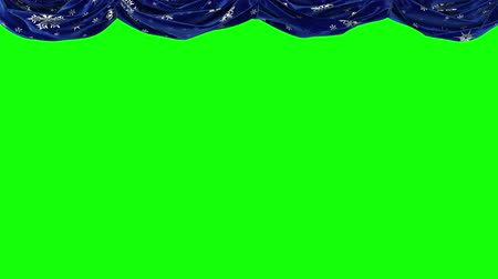 Blue curtains with snowflakes rise up and move on the viewer. Chromakey. Vídeos