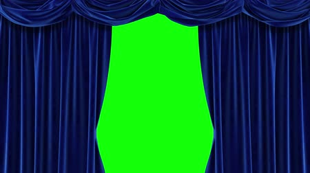 Blue curtain with green background. Chromakey. 4K animation of high quality. Vídeos