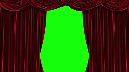 Red curtain with green background. Chromakey. 4K animation of high quality.