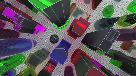 canto : Flying over a mock-up of a glass city of skyscrapers. 3D animation for the promo video. Loop.