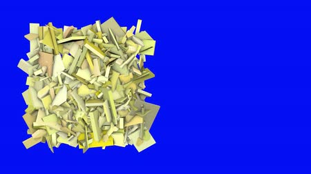 fraktály : 3d abstract yellow spiked shape on blue