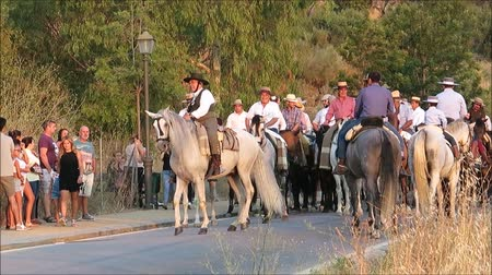 верхом : Alora, Spain - August 26, 2018: Group of local horsemen forming advanced honor guard for the annual procession in honor of Flores, patron saint of Alora, Andalusia