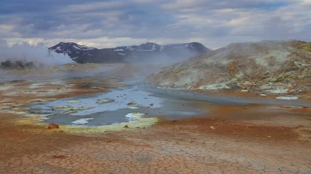 strokkur : Steaming fumarole in geothermal valley Hverarond, located near Reykjahlid village in north of Iceland, Europe. Full HD video (High Definition). Stock Footage