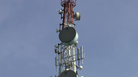 on the phone : microwave, cellular communications antenna tower, HD clip