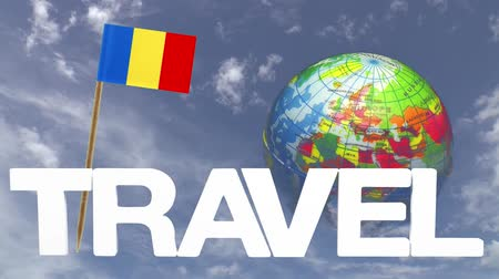 чад : The word travel and a turning globe  in front of a blue sky with tooth pick and a small paper flag of  CHAD