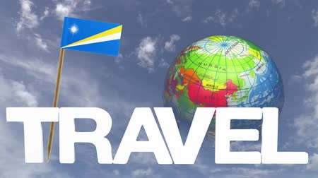 fogpiszkáló : The word travel and a turning globe  in front of a blue sky with tooth pick and a small paper flag of  MARSHAL ISLANDS