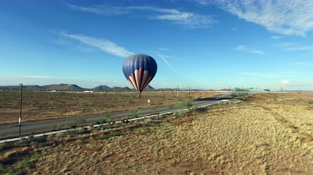 Aerial towards hot air balloon launching