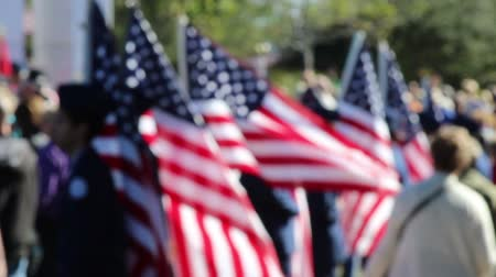 bandeira americana : American Flag bearers in soft focus