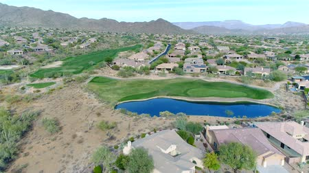 Aerial Northern Arizona Golf Course Green and Water Hazard