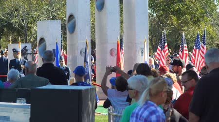 Phoenix, AZUSA – 11112017:Veterans Day Ceremony Crowd and Memorial Close Up