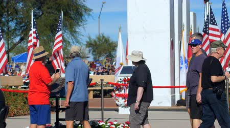 Phoenix, AZ  USA – 11112017: Veterans Day Patrons Take Pics Of Memorial Tight