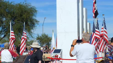 Phoenix, AZ  USA – 11112017: Veterans Day Patrons Take Pics Of Memorial Wideo