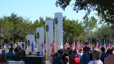 Phoenix, AZUSA – 11112017:Veterans Day Ceremony Crowd and Memorial Full Wideo