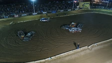 Phoenix, USA – 11252017: Aerial Demolition Derby Checkered Flag
