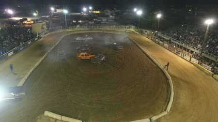 Phoenix, USA – 11252017: Aerial Demolition Derby Car Track And Crowd