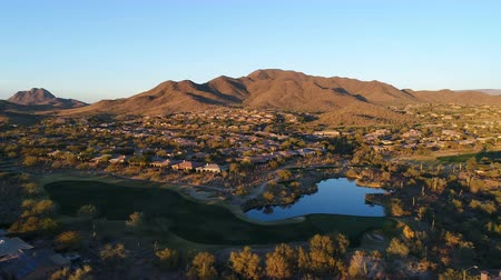 Aerial Arizona Golf Course Water Hazard Fly Over