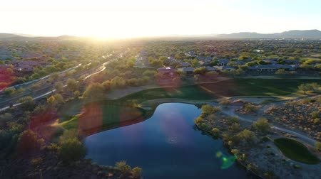 Aerial Arizona Golf Course with Lens Flare Wideo