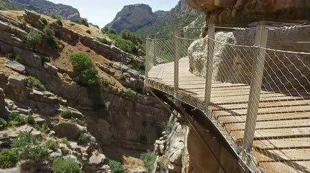 gangplank : Soft Ascendant Walkway Caminito del Rey 20 Jib Crane Up on ravine gorge ravine