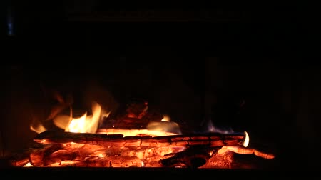 günlüğü : HD video of a wood fireplace burning with orange flames in the winter in a cabin.