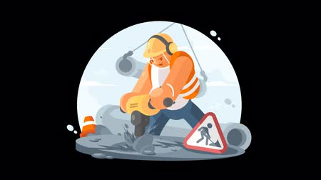 roadwork : Road worker with puncher