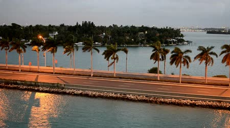 beach panorama : Road to Miami Beach at Sunrise, Florida